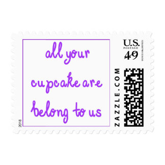 All Your Cupcake Are Belong To Us Purple Text Stamp
