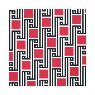 Allah Geometric Red Squares Canvas Print