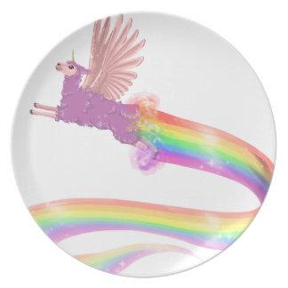 Allamacorn Rainbow Melamine Plate