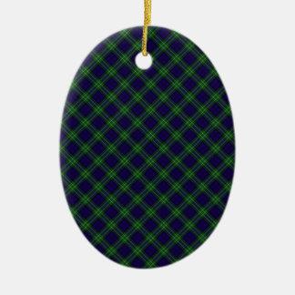 Allan Clan Tartan Designed Print Double-Sided Oval Ceramic Christmas Ornament