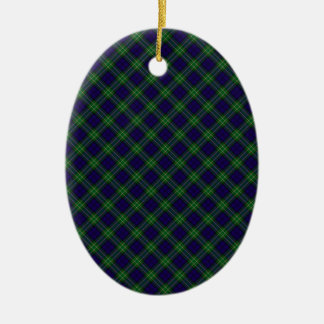Allan Clan Tartan Designed Print Double-Sided Oval Ceramic Christmas Ornament
