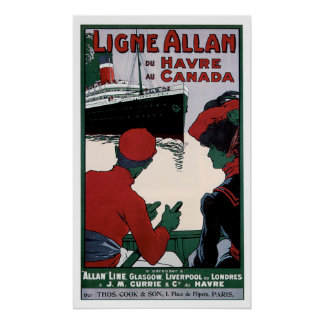 Allan Line - RMS Victorian Vintage Ship Ad Poster