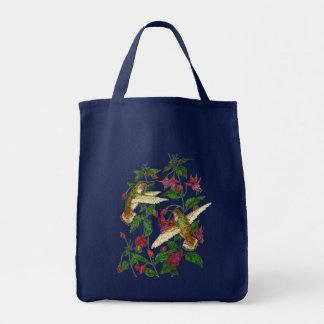 Allans Hummingbirds and Fuschia Grocery Tote Bag