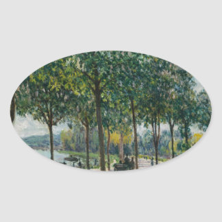 Allée of Chestnut Trees - Alfred Sisley Oval Sticker