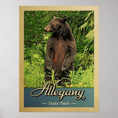 Allegany State Park Vintage Bear Poster