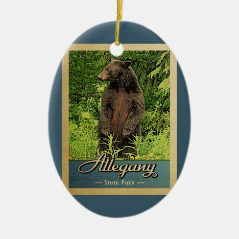 Allegany State Park Vintage Travel Bear Ceramic Ornament