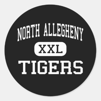 Allegheny del norte - tigres - Pittsburgh Pegatina Redonda