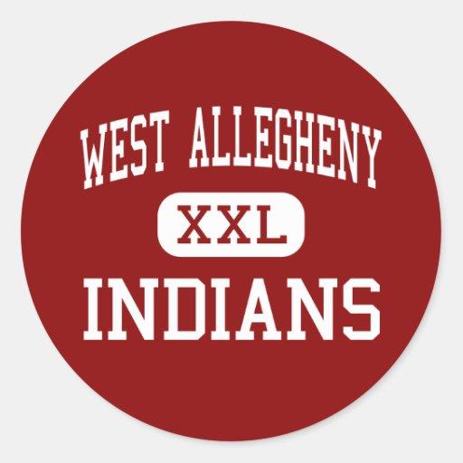 Allegheny del oeste - indios - centro - imperial pegatina redonda
