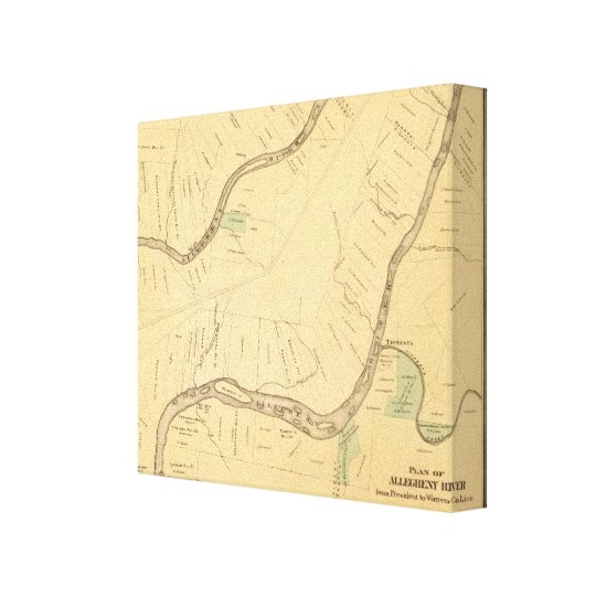 Allegheny River Pa, Map Canvas Print