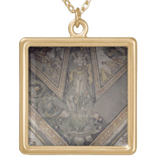 Allegorical figure of Autumn, detail of a mosaic p Square Pendant Necklace