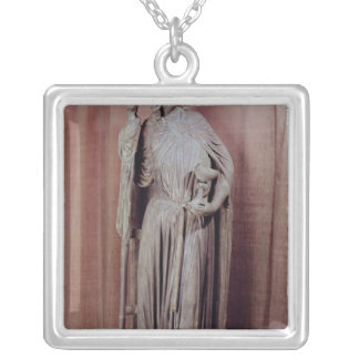 Allegorical figure of church holding a chalice square pendant necklace