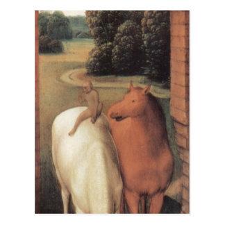 Allegorical representation of two horses postcard