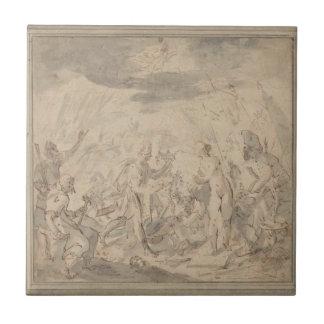 Allegorie en la batalla de Șelimbăr Hans von Aache Azulejo Cuadrado Pequeño