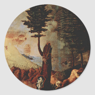 Allegory (Allegory of prudence) by Lorenzo Lotto Classic Round Sticker