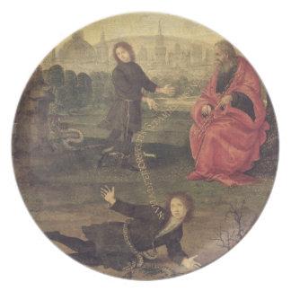Allegory, c.1485-90 (oil on panel) dinner plate