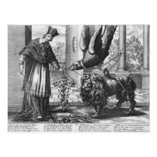 Allegory in praise of Cardinal Richelieu Postcard