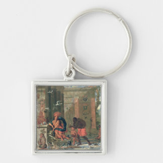 Allegory of America, 1691 Silver-Colored Square Keychain