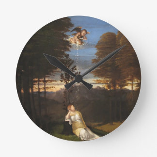 Allegory of Chastity by Lorenzo Lotto Round Clock