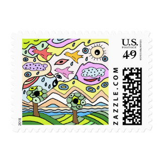 allegory of climate change postage stamp