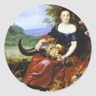 Allegory of Earth by Cornelis de Vos Classic Round Sticker