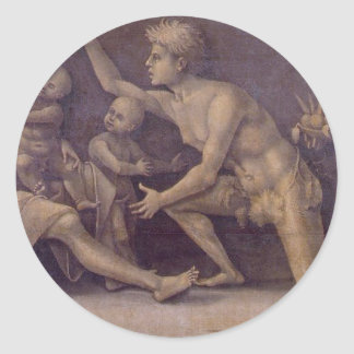 Allegory of Fecundity and Abundance Luca Signorell Classic Round Sticker