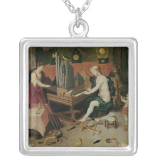 Allegory of Hearing, detail of an organist Square Pendant Necklace