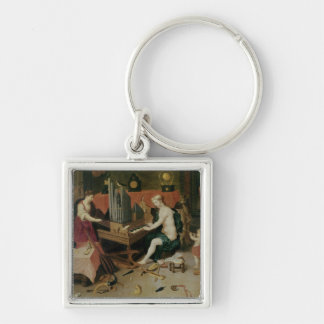 Allegory of Hearing, detail of an organist Silver-Colored Square Keychain