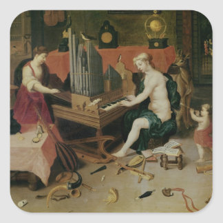 Allegory of Hearing, detail of an organist Sticker