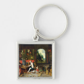Allegory of Hearing Silver-Colored Square Keychain