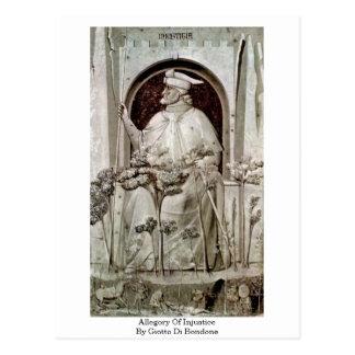 Allegory Of Injustice By Giotto Di Bondone Postcard