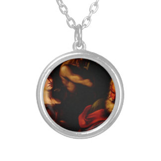 Allegory of Mathematics by Bernardo Strozzi Silver Plated Necklace