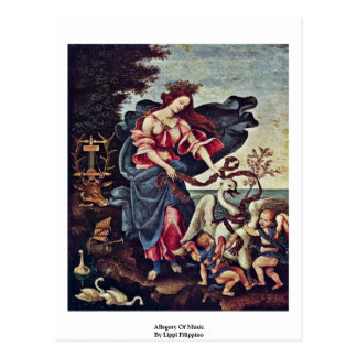 Allegory Of Music By Lippi Filippino Postcard
