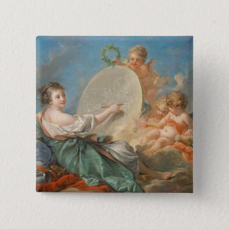 Allegory of Painting, 1765 (oil on canvas) Pinback Button