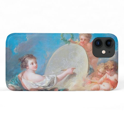Allegory of painting Boucher Francois rococo lady iPhone 11 Case