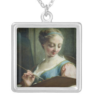 Allegory of Painting Square Pendant Necklace