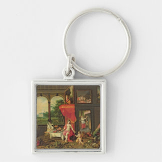Allegory of Taste Silver-Colored Square Keychain