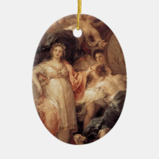 Allegory of the City of Madrid by Francisco Goya Double-Sided Oval Ceramic Christmas Ornament