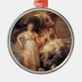 Allegory of the City of Madrid by Francisco Goya Round Metal Christmas Ornament