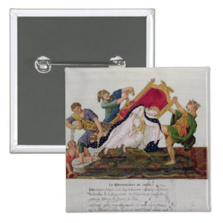Allegory of the overturning of the throne 2 inch square button