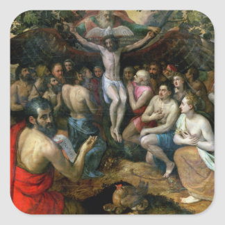 Allegory of the Trinity (oil on panel) Square Sticker