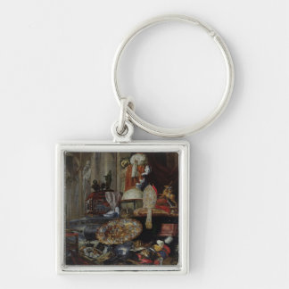 Allegory of the Vanities of the World, 1663 Silver-Colored Square Keychain