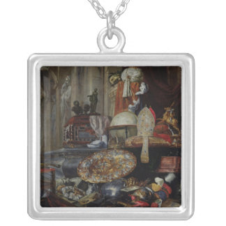 Allegory of the Vanities of the World, 1663 Square Pendant Necklace