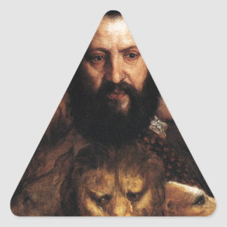 Allegory of Time Governed by Prudence by Titian Triangle Sticker