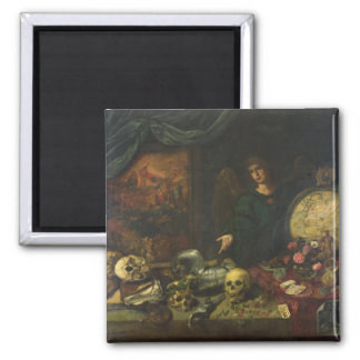 Allegory of Vanity, 1650-60 (oil on canvas) 2 Inch Square Magnet