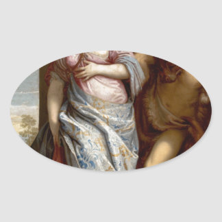 Allegory of Wisdom and Strength by Paolo Veronese Oval Sticker