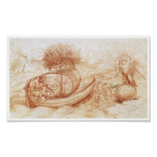 Allegory with a Wolf and Eagle, Da Vinci Poster