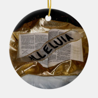 Alleluia (Bible & Sash) Double-Sided Ceramic Round Christmas Ornament