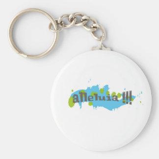 Alleluia !!! Gris sur taches bleues-vertes Keychain