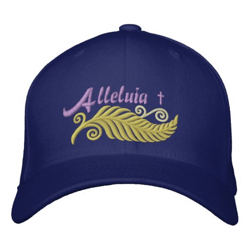 Alleluia Palm with Cross Inspirational Embroidered Baseball Cap