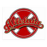 Alleluiah cross in red postcard